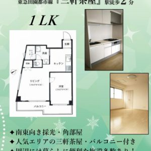 1LK「三軒茶屋」駅徒歩2分