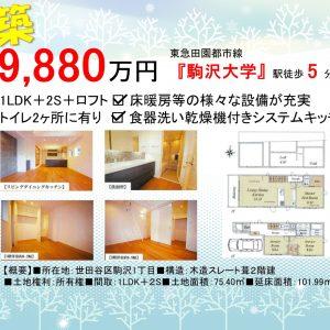 1LDK+2S「駒沢大学駅」徒歩5分