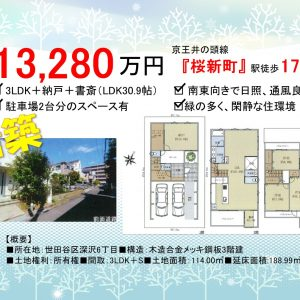 3LDK「桜新町」駅徒歩17分