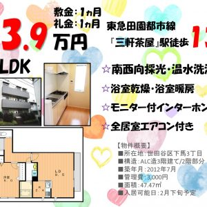 1LDK「三軒茶屋」駅徒歩13分